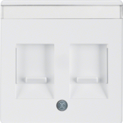 11816089 Centre plate with 2 dust protection sliders Labelling field,  polar white velvety