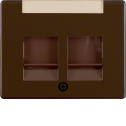 11820001 Centre plate with 2 dust protection sliders Labelling field,  Berker Arsys,  brown glossy