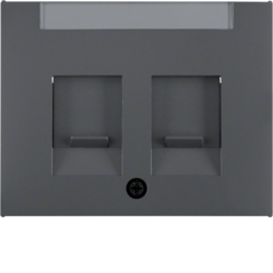 11827006 Centre plate with 2 dust protection sliders Labelling field,  Berker K.1, anthracite matt,  lacquered