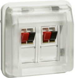 11963532 Stereo loudspeaker connection boxes-insert with hinged cover surface-mounted/flush-mounted with labelling fields,  Berker W.1, polar white matt