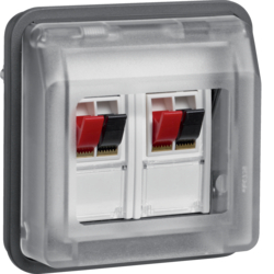 11963535 Stereo loudspeaker connection boxes-insert with hinged cover surface-mounted/flush-mounted with labelling fields,  Berker W.1