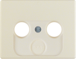 12010112 Centre plate for aerial socket 2-/3hole Berker Arsys,  white glossy