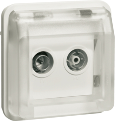 12033542 Aerial sockets insert 2hole with hinged cover surface-mounted,  single socket Berker W.1, polar white matt