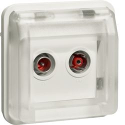 12033552 Aerial sockets insert 2hole with hinged cover surface-mounted,  throughpass socket Berker W.1, polar white matt