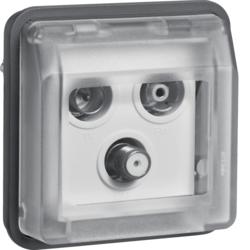 12033565 Aerial sockets insert 3hole with hinged cover surface-mounted,  single socket Berker W.1, grey matt