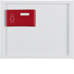 12167009 Centre plate with red button at top Berker K.1, polar white glossy