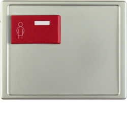 12169004 Centre plate with red button at top Berker Arsys,  stainless steel matt,  lacquered