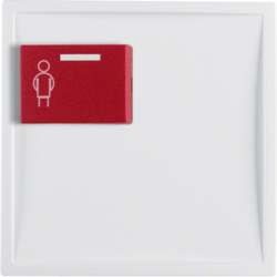 12169909 Centre plate with red button at top polar white matt