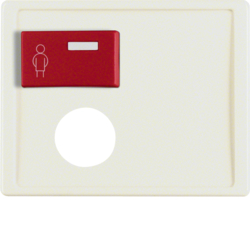 12170002 Centre plate with plug-in opening,  red button at top Berker Arsys,  white glossy