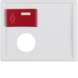12170069 Centre plate with plug-in opening,  red button at top Berker Arsys,  polar white glossy