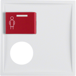 12179909 Centre plate with plug-in opening,  red button at top polar white matt