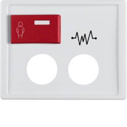 12180069 Centre plate with 2 plug-in openings,  imprint and red button at top Berker Arsys,  polar white glossy