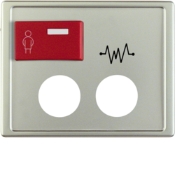 12189004 Centre plate with 2 plug-in openings,  imprint and red button at top Berker Arsys,  stainless steel matt,  lacquered