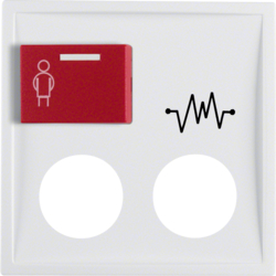 12189909 Centre plate with 2 plug-in openings,  imprint and red button at top polar white matt