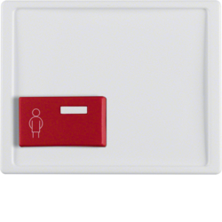 12190069 Centre plate with red button at bottom Berker Arsys,  polar white glossy