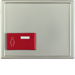 12199004 Centre plate with red button at bottom Berker Arsys,  stainless steel matt,  lacquered