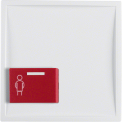 12199909 Centre plate with red button at bottom polar white matt