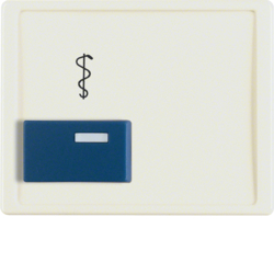 12230002 Centre plate with blue button and imprint Berker Arsys,  white glossy
