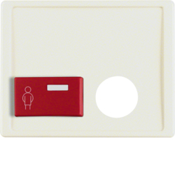 12240002 Centre plate with plug-in opening,  red button at bottom Berker Arsys,  white glossy