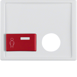 12240069 Centre plate with plug-in opening,  red button at bottom Berker Arsys,  polar white glossy