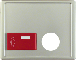 12249004 Centre plate with plug-in opening,  red button at bottom Berker Arsys,  stainless steel matt,  lacquered