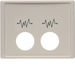 12440002 Centre plate with 2 plug-in openings and imprint,  for call unit Berker Arsys,  white glossy