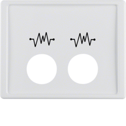 12440069 Centre plate with 2 plug-in openings and imprint,  for call unit Berker Arsys,  polar white glossy