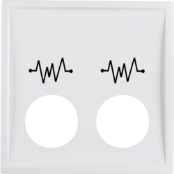 12449909 Centre plate with 2 plug-in openings and imprint,  for call unit Berker S.1/B.3/B.7, polar white matt