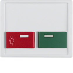 12490069 Centre plate with red + green button Berker Arsys,  polar white glossy