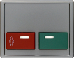 12499004 Centre plate with red + green button Berker Arsys,  stainless steel matt,  lacquered