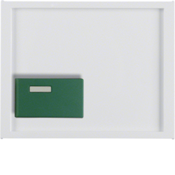 12517009 Centre plate with green button Berker K.1, polar white glossy