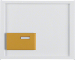 12527009 Centre plate with yellow button Berker K.1, polar white glossy