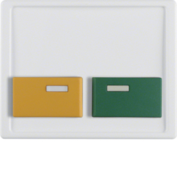 12530069 Centre plate with green + yellow button Berker Arsys,  polar white glossy