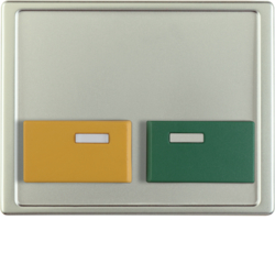 12539004 Centre plate with green + yellow button Berker Arsys,  stainless steel matt,  lacquered
