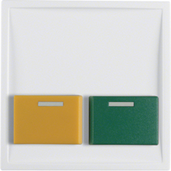 12539909 Centre plate with green + yellow button Berker S.1/B.3/B.7, polar white matt