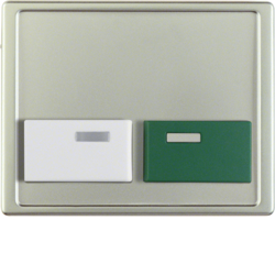 12999004 Centre plate with white + green button Berker Arsys,  stainless steel matt,  lacquered