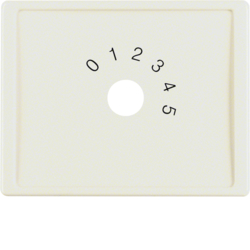"13010002 Centre plate with imprint ""0 - 1 - 2 - 3 - 4 - 5"" for small sound system Berker Arsys,  white glossy"