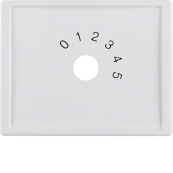 "13010069 Centre plate with imprint ""0 - 1 - 2 - 3 - 4 - 5"" for small sound system Berker Arsys,  polar white glossy"