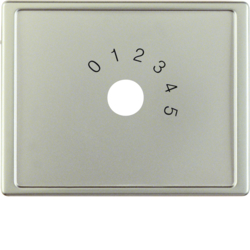 "13019004 Centre plate with imprint ""0 - 1 - 2 - 3 - 4 - 5"" for small sound system Berker Arsys,  stainless steel matt,  lacquered"