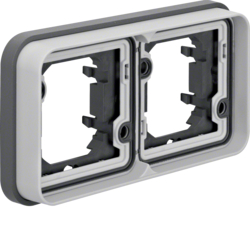 13293505 Frame 2gang horizontal for flush-mounted installation with sealing,  Berker W.1, light grey matt