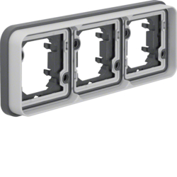 13303505 Frame 3gang horizontal for flush-mounted installation with sealing,  Berker W.1, light grey matt