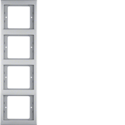 13437004 Frame 4gang vertical Berker K.5, stainless steel,  metal matt finish
