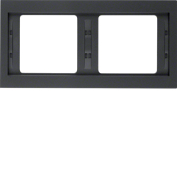 13637006 Frame 2gang horizontal Berker K.1, anthracite matt,  lacquered