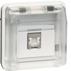 14093512 FCC socket outlet insert 8pole shielded with hinged cover surface-mounted/flush-mounted,  cat.6 with labelling field,  Berker W.1, polar white matt