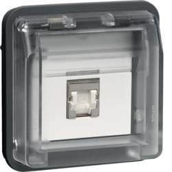 14093515 FCC socket outlet insert 8pole shielded with hinged cover surface-mounted/flush-mounted,  cat.6 with labelling field,  Berker W.1, light grey matt