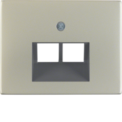 14097004 Centre plate for FCC socket outlet 2gang Berker K.5, stainless steel,  metal matt finish