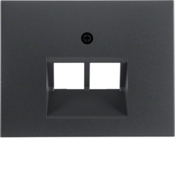 14097006 Centre plate for FCC socket outlet 2gang Berker K.1, anthracite matt,  lacquered