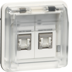 14103502 FCC socket outlet insert 8/8pole shielded with hinged cover surface-mounted/flush-mounted,  cat.6 with labelling field,  Berker W.1, polar white matt