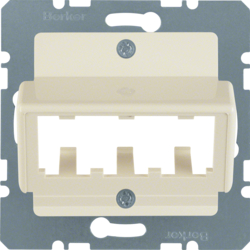 142702 Central plate for 3 MINI-COM modules white glossy