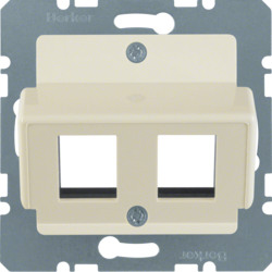 146302 Central plate 2gang for AMP jacks Communication technology,  white,  glossy